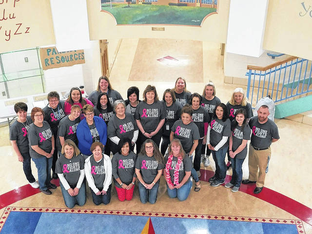 Staff at Cherry Hill Primary School gathered on Friday to show support for Cyndi Meriweather, a retired Washington City School teacher suffering from breast cancer. Some of the staff will participate in Step Up For Stefanie's Champions Walk/Run in Columbus over the weekend. Over the last 16 years, Stefanie's Champions have raised more than $1.7 million for the Spielman Fund.