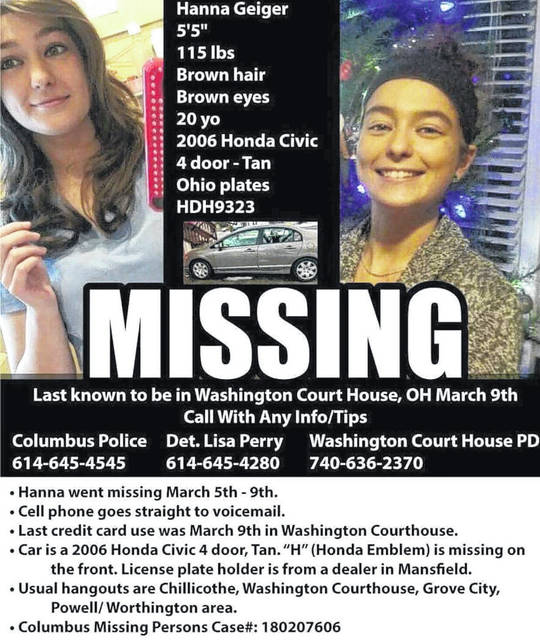 A flyer with information on Hanna Geiger's disappearance is being distributed on social media.
