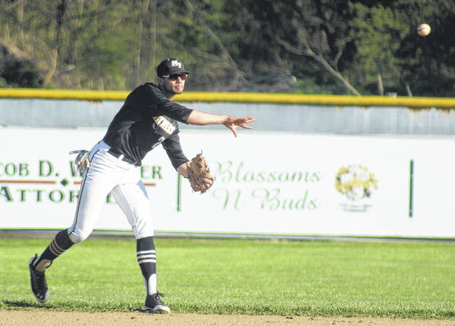 Dalton Mayer makes the throw from shortstop to second base for the Panthers during a Frontier Athletic Conference game at Hillsboro Friday, April 20, 2018.