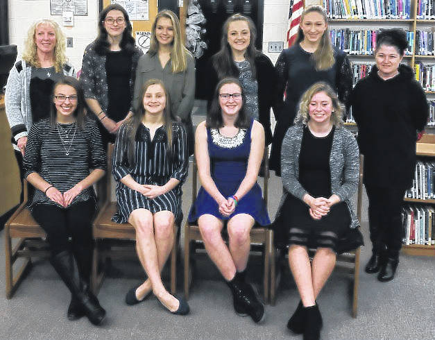 The 2017-18 Miami Trace gymnastics team recently held an end-of-season awards banquet and presentation at the high school. (front, l-r); Gracie Greene, Devan Thomas, Debbie Abare, Lizzy Valentine, (Greeneview); (back, l-r); head coach Susan Holloway, Grace Rolfe, Abby Arledge, Maddie Southward, Tori Waits and assistant coach Chasity Thomas.