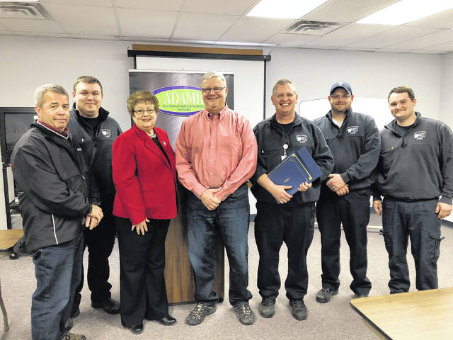 Fayette County Commissioners Tony Anderson and Dan Dean joined ADAMH Board Executive Director Penny Dehner Tuesday in recognition of first responders.