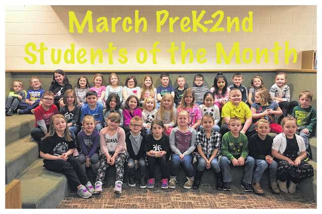 The Miami Trace Elementary School announced the March Students of the Month for the K-2 grades. Front row (L to R): Brooklyn Hagler, Audrey Johnson, Maylynn Axline, Lukas Williard, Delaney Farley, Kenzie Wilt, Emma Marrero, Nathan Hooks, Colton Fannin and Brynlynn Hayes. Middle row: Carson Stewart, Kamdyn Penwell, Harely Boysel, Arianna Poole, Jayle Stires, Addison McClaskey, Kaliana Willman, Serenity McQuade, Yaretzi Utrera Canseco, Xander Cummings, Kylee Leach and Kaleb Causey. Back row: Colby Therrien, Bryant Lemaster, Ava Culwell, Emma Hoppes, Brooklyn Gurr, Cailin Johnson, Bryleigh Carrol, Lillian Bush, Meyer Bloom, Landry Smith, Chance Neal, Allisson Juarez Ramirez, Mack Leasure, Skylar Carlsgaard and Kaylen Pavey.