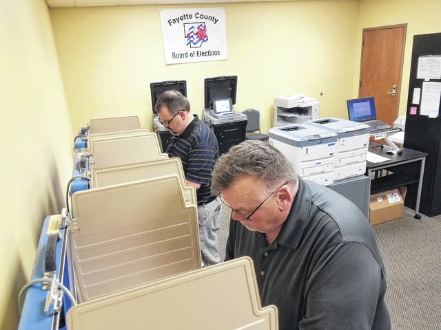 Wayne Roberts and Sam Loyd visited the Fayette County Board of Elections Friday to cast their ballots early for the upcoming May Primary Election. With the Fayette County Auditor race, a couple of county issues, and a couple of state issues, almost 600 registered voters visited early to cast their ballots.