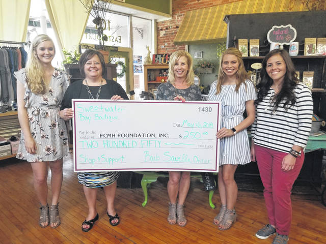 From left, Kelsey Wilson of Sweetwater Bay Boutique, FCMH Foundation Director Whitney Gentry, Barbara Saville and Cassidy Tolliver of Sweetwater Bay Boutique, and FCMH Foundation Coordinator Stephanie Campbell.