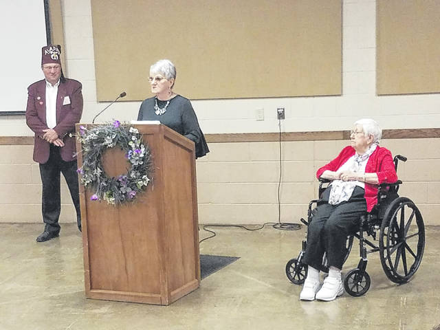 Washington Shrine Club President Jeff Detty introduced Barbara Jackson and her mom, Ruby Swick. Swick, who will be 94-years-old next month, was a patient of the Shriners Hospital in Lexington starting 92-years-ago to treat a bad case of club foot.