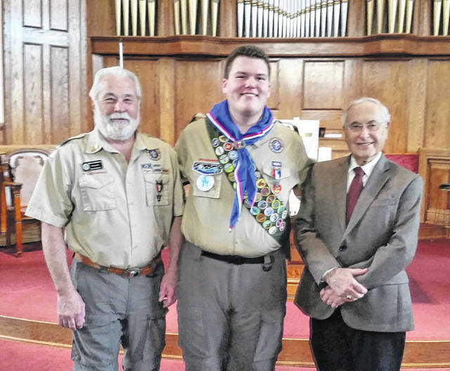 Scout Master and Fayette County Museum Trustee Glenn Rankin, Eagle Scout Dylan Page and Museum Trustee Don Moore.