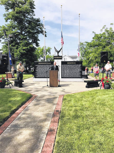 Fayette County Juvenile/Probate Court Judge David Bender was a featured speaker at Monday's Memorial Day ceremony in Jeffersonville.