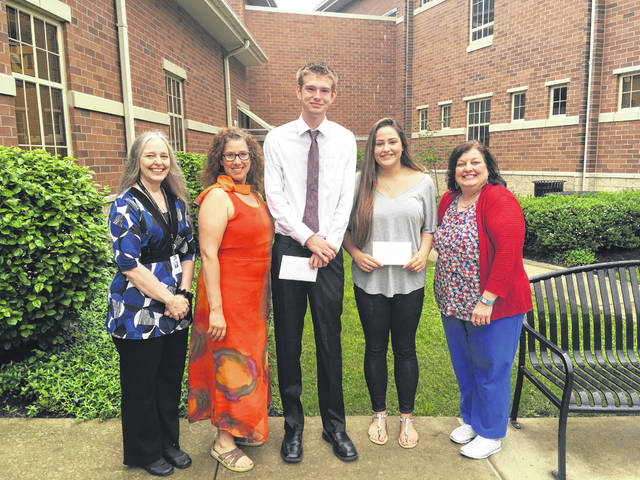 Jordan Bernard and Matthew Fender were awarded the Miami Trace Education Association Senior Award for the 2018 school year. Jordan is the daughter of Mike and Deidre Bernard. Matthew is the son of Rod and Heidi Fender. Pictured are Ellen Businger, MTEA Treasurer; Melissa Steele, MTEA Vice President; Matthew Fender, Jordan Bernard and Cindy Larvie, MTEA President. ​