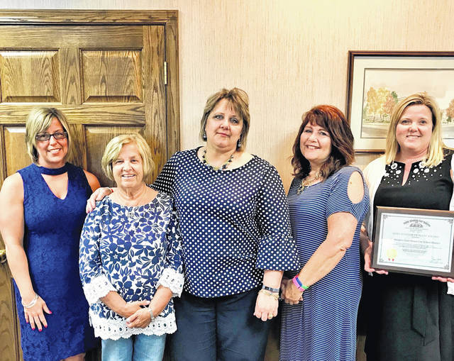 The Washington Court House City School district's excellent record keeping has earned it the Auditor of State Award once again. The district received the award during the board of education meeting on Monday. Pictured (left to right): Erica Malone, Assistant Treasurer, Bonnie Taylor, Retired Secretary to the Treasurer, Debbie Mitson, Accounts Payable, Brenda Mossbarger, Secretary to the Treasurer, and Becky Mullins, Treasurer/CFO.