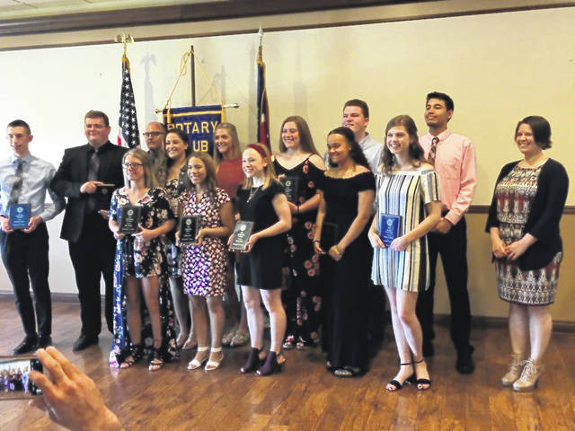 Students from local schools received scholarships recently from the Washington Rotary Club. Pictured (L to R): front row: Shay Puckett, Dyamin Baker, Jillian Sollars, Jaelyn Mason and Maria Pickerill. Second row: Row 2 - L-R - Anthony Kuenzli, Charles Milstead, Rotary Program Chairman Joe Denen, Jordan Bernard, Tanner Bryant, Katie Seyfang, Dylan Page, Kenneth Arboleda and Rotary President Kristy Bowers.