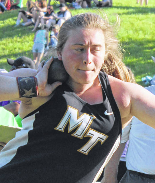 "Miami Trace's Katie Seyfang won the Regional shot put Thursday at Muskingum University with a throw of 41' 10 1/2"". She will compete at State next weekend."