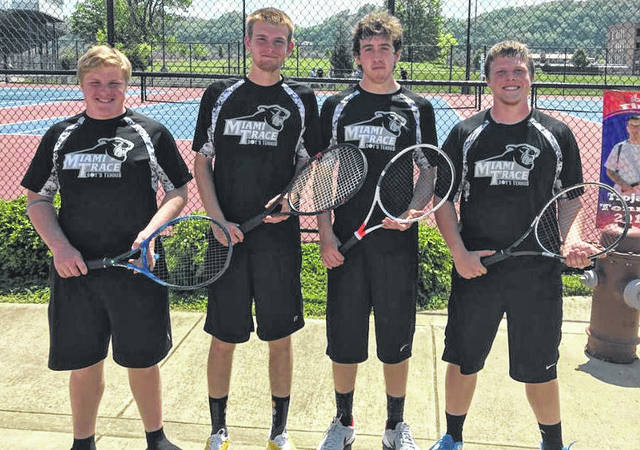Miami Trace tennis District qualifiers are (l-r); Ely Schirtzinger, Matt Fender, Johnathan Allen and Adam Ginn.