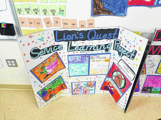 The display showed off some art for the Lion's Quest Service Learning Project from the class.