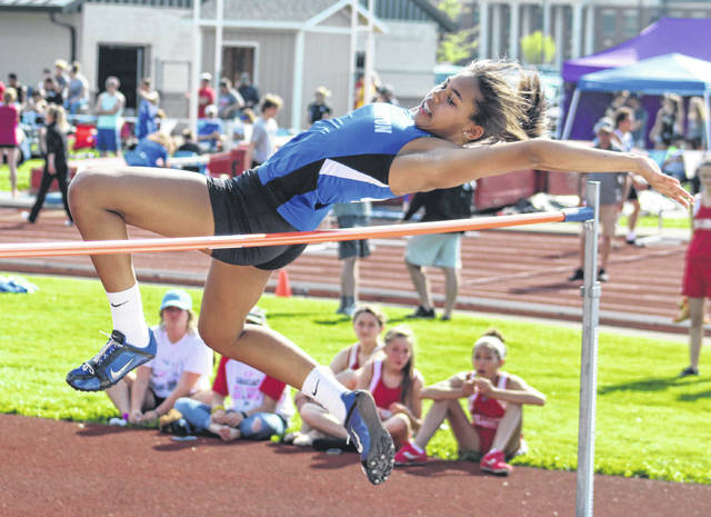 """Washington's Rayana Burns won the Frontier Athletic Conference high jump with a new school record of 5' 7 3/4"""" Tuesday, May 8, 2018 at Washington High School."""