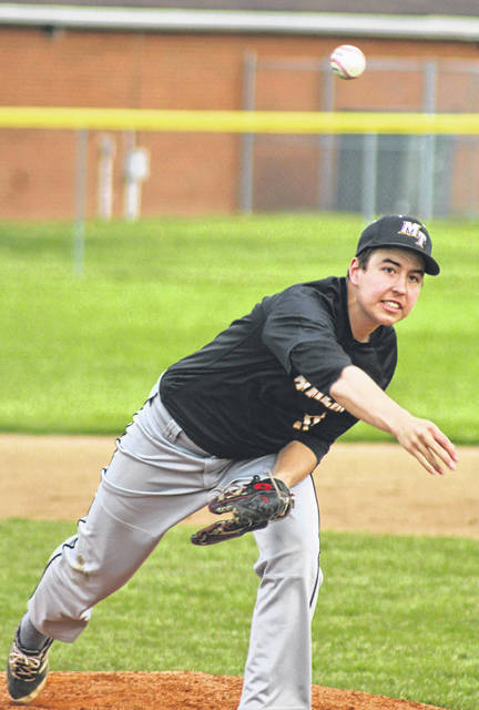 Tyler Eggleton delievers a pitch for Miami Trace during a non-league game against Dayton Meadowdale Thursday, April 26, 2018. Eggleton was the winning pitcher in this game, going four innings with one walk and one hit. The Panthers won this game, 18-0. On Wednesday, May 2, the Panthers hosted Dayton Ponitz and won, 23-7. Eggleton was also the winning pitcher in this game. He pitched four innings, allowing four hits and six runs with three strikeouts.