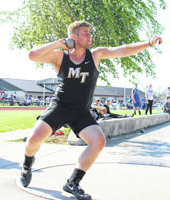 Wes Seyfang of Miami Trace placed second in the shot put at the FAC meet Thursday, May 10, 2018. Seyfang won the discus throw on May 8.