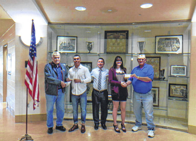 The VFW Post 3762 recently donated two scholarships to Washington High School. Pictured (L to R): Bob Malone, Josh Trimmer, Tracy Rose, Robin Courts and Sheldon Litton