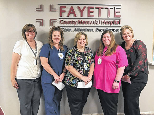 The first place team from Fayette County Memorial Hospital in the Rolling Rimples program from left to right: Kathy Payton, Lyndsey Sharp, Tammy Wilson (also overall first place winner), Melissa Rumer and Stacey Baldwin.