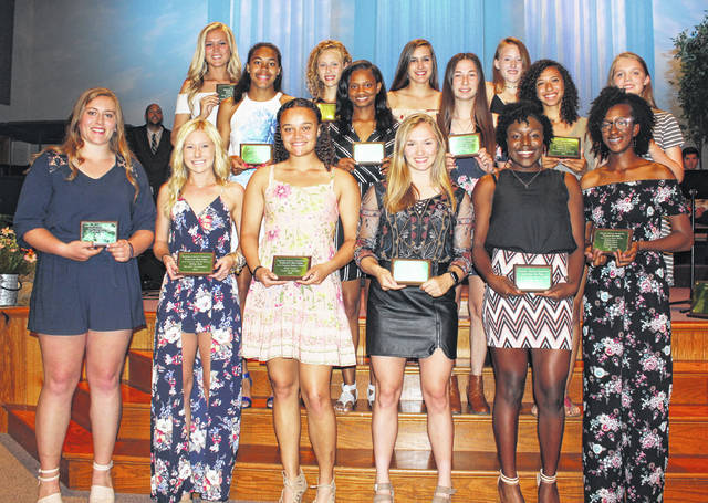 The Frontier Athletic Conference recognized the top female track athletes for 2018 at the first-ever FAC spring sports banquet May 21 in Washington C.H. Local student-athletes pictured (front row, at left), Katie Seyfang, Miami Trace High School, conference champion in the shot put and discus throws; next is Maddy Garrison of Washington High School, 800-meter and 1600-meter FAC champion; next is Jaelyn Mason of Washington High School, FAC pole vault champion; (middle row, at left), Rayana Burns, Washington High School, FAC champion in the 100, 200 and 400-meter dashes and the high jump. Not pictured: Shaylee McDonald, Miami Trace, FAC long jump champion.