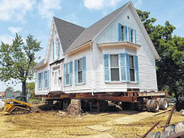 A historic home on Highland Avenue in Washington Court House — currently existing on a portion of the site for the new Sonic restaurant — was raised this week to prepare it for its move next week to a new spot on 41 just down the road from its current location.