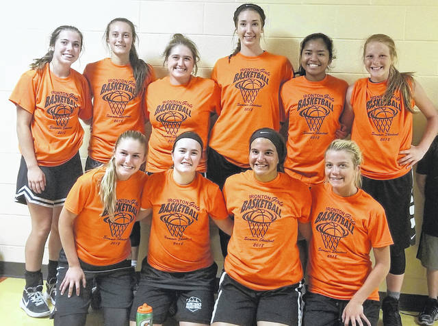 The Miami Trace varsity basketball team, winners of the Ironton Shootout. (front, l-r); seniors Tori Evans, Becca Ratliff, Olivia Wolffe, Cassidy Lovett; (back, l-r); Gracee Stewart, Shaylee McDonald, Aubrey Schwartz, Aubrey Wood, Shania Villaruel and Magarah Bloom.