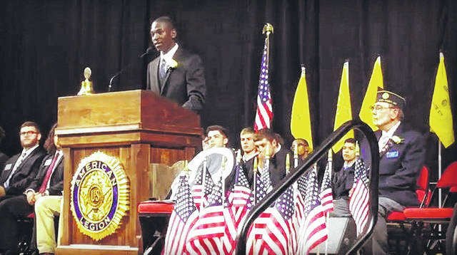 Blaise Tayese, 17, addresses his constituents after being elected governor at Buckeye Boys State.