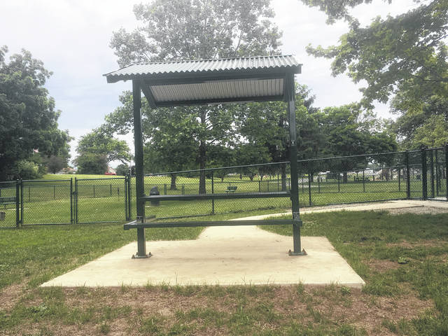 The new, handicap-accessible shelter at the dog park.