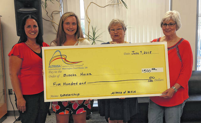 From left to right is Brooke's mother Amanda Heinz, scholarship recipient Brooke Heinz, Altrusa President Elaine Crutcher and Altrusa past foundation treasurer, Nancy Mowery.