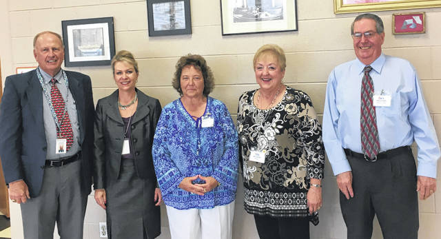 Fayette County Retired Teachers enjoyed their June meeting with representatives from ORTA. A certificate honoring 50 years of service was presented by Bee Lehner, state ORTA president. From left to right, Jim Rosendahl, AMBA advisor, Andrea Bussert, district manager for AMBA, Susan Stuckey, FCRT president, Bee Lehner, state ORTA president, and Ken Moody, ORTA regional liaison.