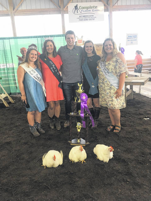 Adam Ginn's chickens were named grand champions on Monday at the Fayette County Junior Fair.