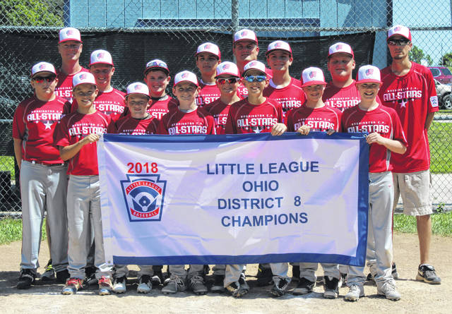 WASHINGTON C.H. 12-YEAR-OLD ALL-STARS, 2018 DISTRICT 8 CHAMPIONS — The team stands at home plate after receiving their championship pins following a 16-0 win over Fairborn Sunday, July 8. (front, l-r); Corbin Melvin, Hunter Hinkley, Will Miller, Bryce Yeazel, Justin Robinson, John Wall; (middle, l-r); Hunter Allen, Brady Armstrong, Gabe Wightman, Isaiah Haithcock, Evan Lynch, Coleden May, Luke Crabtree; (back, l-r); coach Greg Wall, manager Ryan May and coach Brian Yeazel.