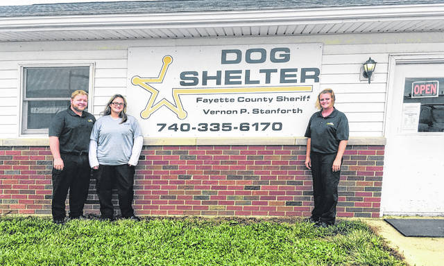 Dog Warden Nelson Prater, office assistant Chasity Arnett, and Assistant Dog Warden Brittany Bryant.