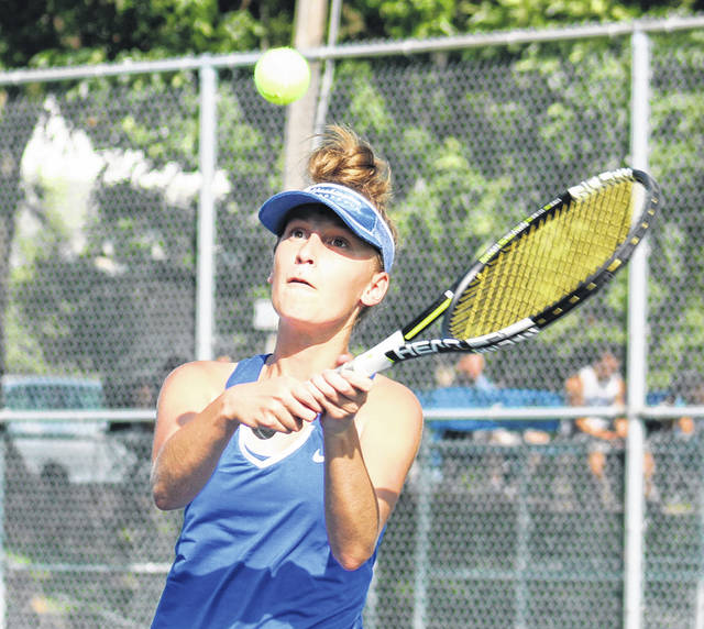 Brooklyn Foose eyes the return in her third singles match for Washington against Logan Elm Monday, Aug. 27, 2018 at Gardner Park.