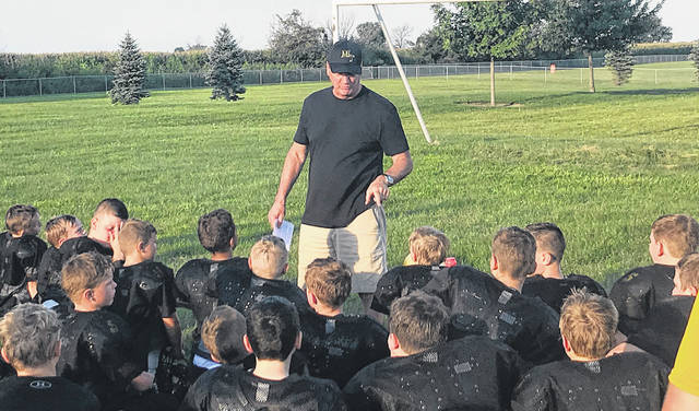 Dan Roberts (founding member of the MTYFP) speaks to a group of 3rd and 4th graders in the Miami Trace Youth Football Program Monday evening, Aug. 6, 2018 on the five key elements of football and life: Use your words wisely, Have fun, Do your best, Have good sportsmanship, and Be a good teammate. Preview games are scheduled for Saturday, Aug. 25 in Chillicothe. There will be no games over the Labor Day Weekend. The regular season will begin Saturday, Sept. 8 with MT Varsity Black playing Washington C.H. White at 2 p.m. and MT J-V Black playing Washington C.H. White at 3:30 p.m. Those games will be played at Gardner Park. Also on Sept. 8, Miami Trace's Varsity White team plays the Hillsboro Black team at 2 p.m. at Hillsboro. The MT J-V White team will play the Hillsboro Black team at 3:30 p.m. The MT Varsity Gold team will host the Washington C.H. Blue team at 2 p.m. Sunday, Sept. 9.