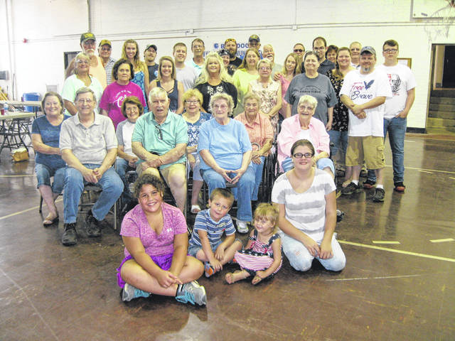 Many were in attendance for the Gilmore-Parkison family reunion: On Floor: Nevaeh Greene, Eli and Leia Liming, Jaylynn Bowermaster. Seated: Sue and Danny Gilmore, Barb Havens, Tom and Betty Gilmore, Mary (Babe) Donohoe, Margaret Lee Littler, Donna Liming. Standing Row 1: Phyllis Havens, Debbie Havens, Michelle Liming, Peggy Liming, Diana Littler, Teresa Lutz, Vickie Wagner, Sabrina and Jeromie Bard, Jacob Bard. Standing Row 2: David Havens, Gary Havens, Jennie Cunnagin, Donny Liming, Luke Liming, Donald Liming, Jamie and Jonathon Holley, Buck Wagner, Tom (Bud) Gilmore Jr., Amber Kirkman, David Lutz, Jonathan Wagner, Christine Delph, Tommy Wayne Donohoe. Amy and Elaine Gilmore were absent from photo.