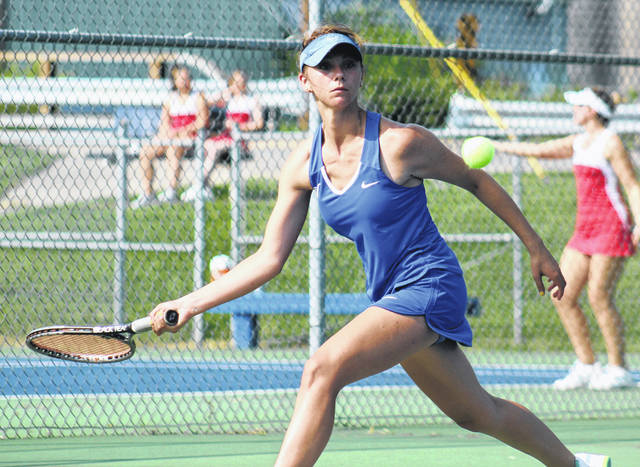 Washington senior Megan Downing gets ready for the return during a first singles match against Jackson in the Frontier Athletic Conference Tuesday, Aug. 14, 2018 at Gardner Park.