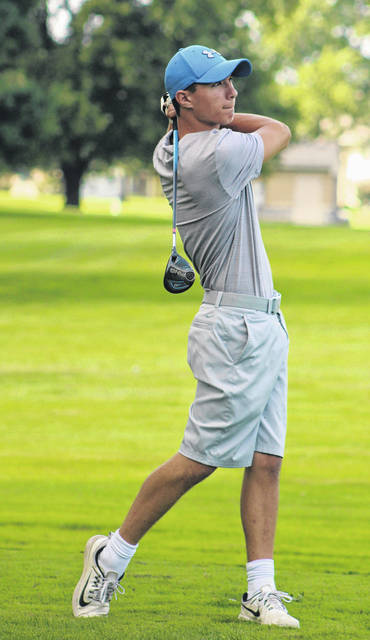 Washington's Ty Rose watches the flight of his tee shot during a non-conference tri-match against Miami Trace and Chillicothe Wednesday, Aug. 22, 2018 at the Club at Quail Run.