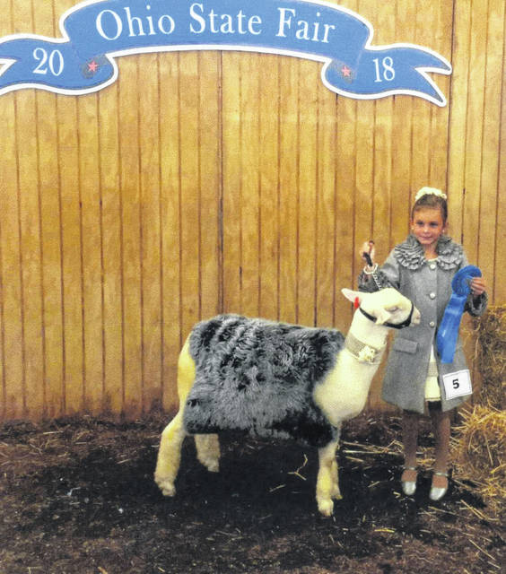 Karlee Johnson, of Bloomingburg, received a first at the Ohio State Fair Guys and Gals Sheep Lead Contest with her lamb Lady J. She is a Cloverbud member of the All-N-One 4-H Club.