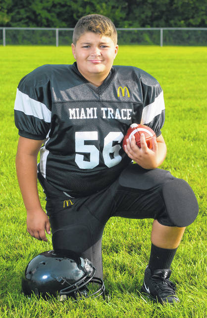 Brady Sheets was named the Defensive Player of the Week for the Miami Trace Youth Football Program for games played Sept. 22 and 23, 2018.
