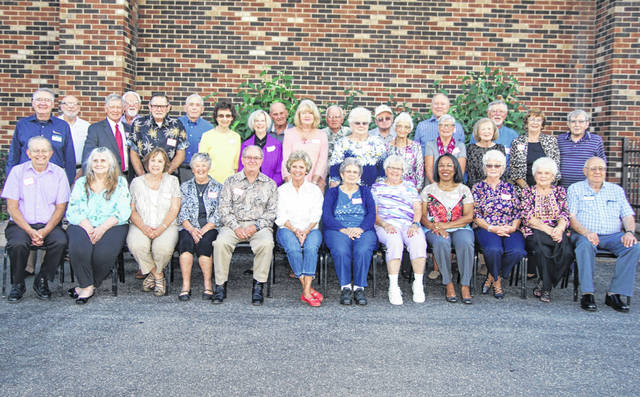 The Washington High School Class of 1958 class picture: First row - Floyd Southward, Judy Edmonson Simpkins, Linda Loudner Powers, Marianne Mouser Lukan, Dale Fent, Jan Ellis Goff, Janice Kelley Lane, Marjorie McBrayer See, LuAnn Foster Ford, Charilyn Reinke Prickett, Mary Belle Shoemaker Cockerill, John Rhoad; second row - Earl Palmer, Jim Wilson, Ron Dowler, Joe Peters Laymon, Nancy Wood Chaney, Wanda Huff Bryan, Joy Lucas, Carolyn Wilhelm Mallow, Mary Agnes Helfrich Cox, Patty Knedler Leeth, Kristin Himmelspach Dusterberg, Robert Caplinger; and third row - Larry Milstead, Mike Edwards, Phil French, Jack Anders, Roger Schwart, Ben See, Doug Rider and Richard Willis.