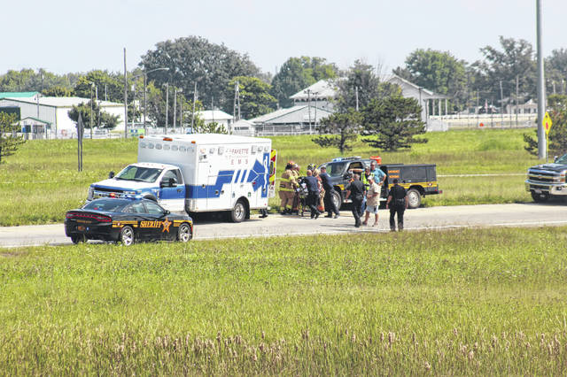 A 65-year-old man was injured in a one-vehicle accident Tuesday afternoon on U.S. 35 East near the US 22/62 exit. He was transported to Fayette County Memorial Hospital and was later transported via medical helicopter to a Columbus-area hospital.