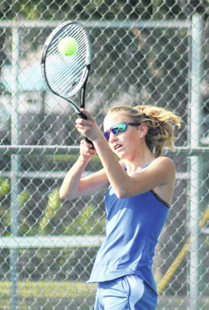 Jen Richards hits the shot for Washington during a Frontier Athletic Conference match against Hillsboro Thursday, Sept. 20, 2018 at Gardner Park.