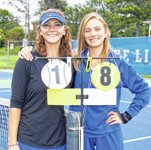 Washington High School recognized its two senior tennis team members prior to a match against Miami Trace Thursday, Sept. 27, 2018. The match got underway, but was soon rained out. It was been rescheduled for Thursday at 4:30 p.m. at Gardner Park. (l-r); Megan Downing and Jennifer Richards.