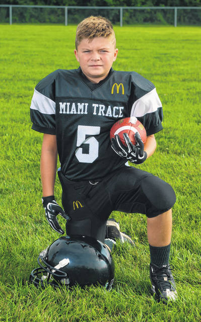 Lyric Dickerson, above, was the Miami Trace Youth Football Program's Defensive Player of the Week for Sept. 8 and 9.