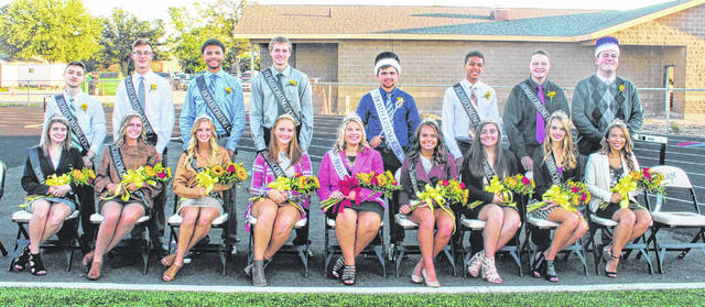 The 2018 Miami Trace High School Homecoming Court was on hand for Friday night's football game vs. McClain. From left to right, Senior Attendants Trenton Gragg and Madison Garringer, Senior Attendants Devin Howard and Tori Evans, Senior Attendants Chris Walker and Macy Creamer, Senior Attendants Austin Brown and Jessica Camp, King Cole Howland and Queen Abbi Pettit, Junior Attendant Lilly Litteral (not pictured is junior attendant Dalton Mayer, who was preparing to participate in the football game when the photo was taken), Sophomore Attendants Caleb Brannigan and Brianna Gozy, Freshmen Attendants Blayne Ferguson and Hidy Kirkpatrick, and the 2017 King Dylan Page and Queen Dyamin Baker.