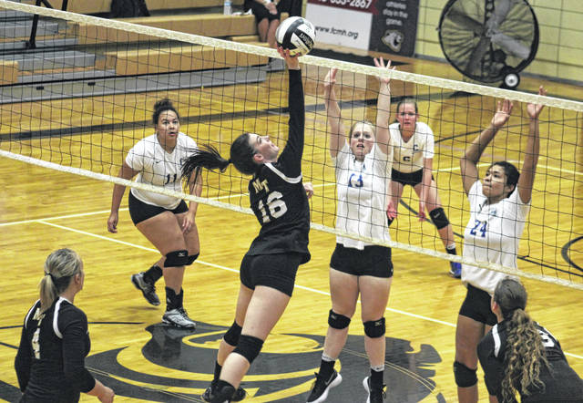 Miami Trace's Taylor Dawson (16) hits the ball back over the net during a Frontier Athletic Conference match against Chillicothe Thursday, Sept. 20, 2018 in the Panther Pit at Miami Trace High School. This was the penultimate varsity sporting event to be played in the gym. The final one will be Thursday, Oct. 4 against Washington High School.