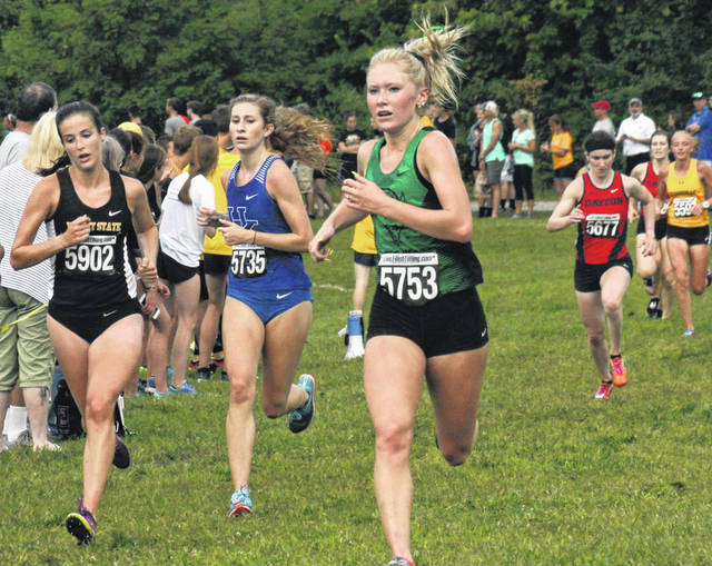 Marshall freshman (and Washington High School Class of 2018 member) Maddy Garrison (5753) competes in her first collegiate cross country race Saturday, Sept. 1, 2018 at Northern Kentucky University. Garrison was the first member of her team to cross the finish line, placing 55th in a time of 19.32.3.