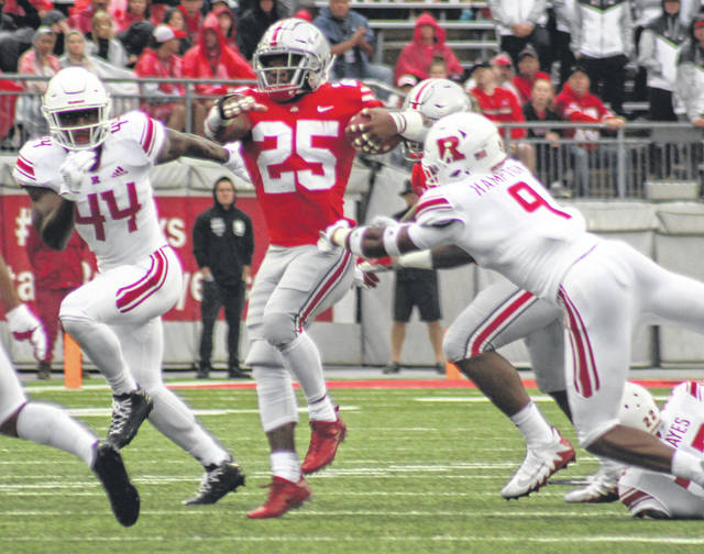 Mike Weber Jr. (25) carries for the Buckeyes during a Big Ten game against Rutgers Saturday, Sept. 8, 2018 at Ohio Stadium in Columbus.
