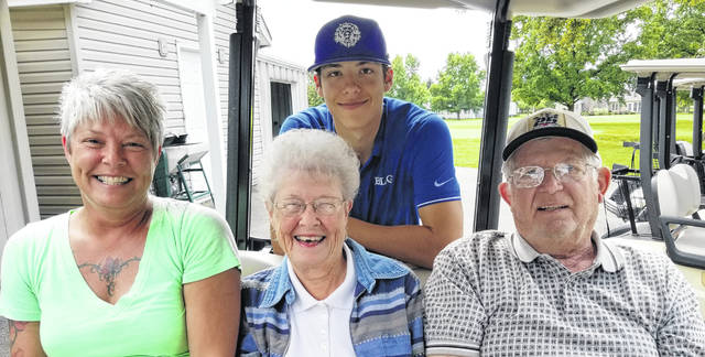 On Sept. 12, 2018, the Washington Blue Lions honored their senior golfer, Tyler Rood at a match with Miami Trace and Vinton County. Above, Rood, in back, is joined by (l-r); his mother, Jackie Myers and grandparents, Sue and Jerry McCoy.