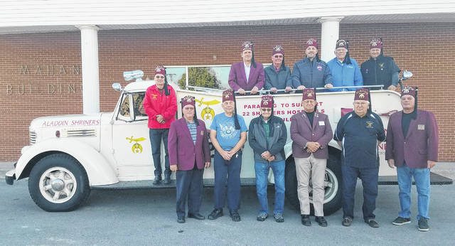The Washington Shrine Club will hold its semi-annual Spaghetti Supper on Nov. 3 from 4 until 8 p.m. at the Mahan Building on the Fayette County Fairgrounds. Adults can eat for $7, and children 6-years-old and under can eat for $5. Tickets are available by stopping in at Doug Marine Motors or Hartley Oil. Pictured are members of the Washington Shrine Club, who gathered at the Mahan Building recently to promote the supper.
